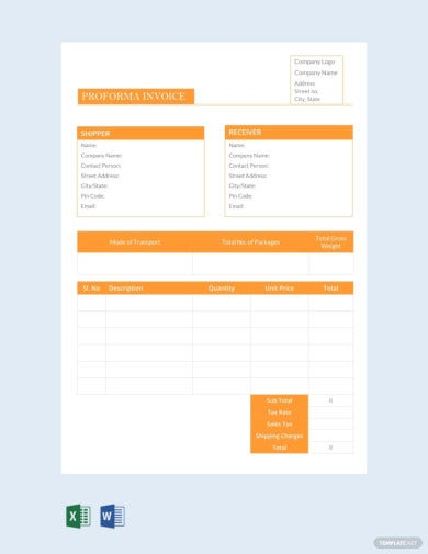 7+ Proforma Invoice Templates - Word, Excel, Numbers ...