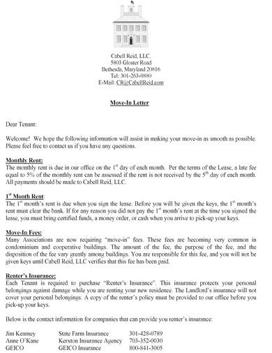 corporate tenant move in letter