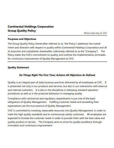 corporation company quality policy
