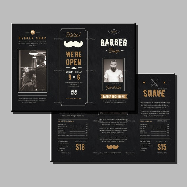 creative chalkboard barbershop brochure layout