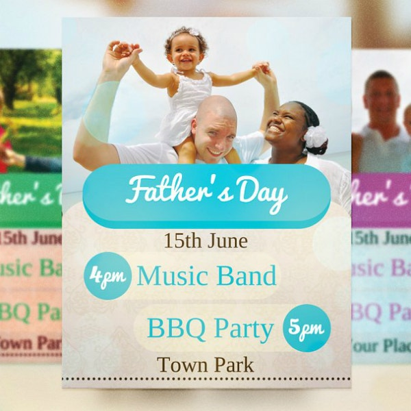 creative fathers day flyer layout