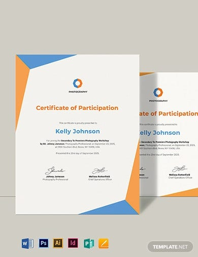 creative photography participation certificate template1
