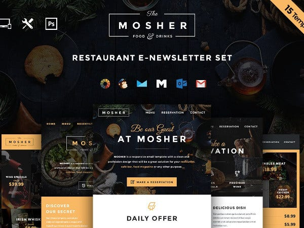creative restaurant email template