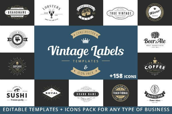 creative restaurant label and logo template set