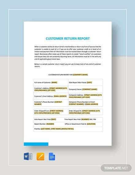 customer return report template