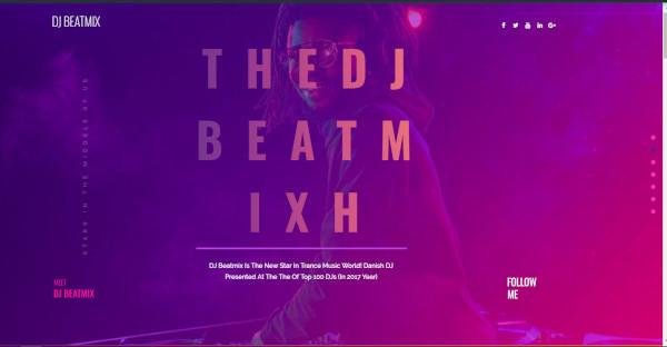 dj beatmix personal page elementor wordpress theme