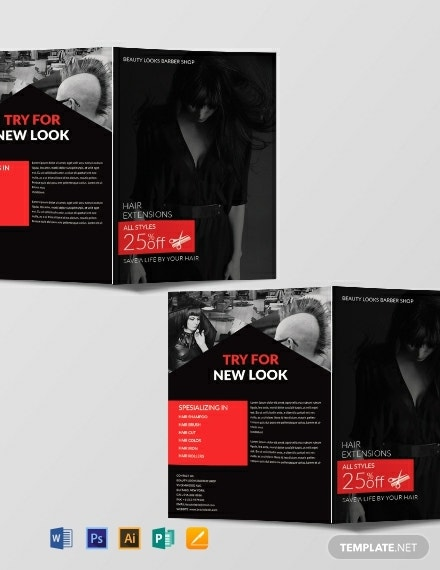 dark barbershop bi fold brochure sample