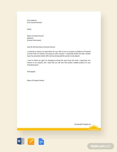 decline real estate offer letter