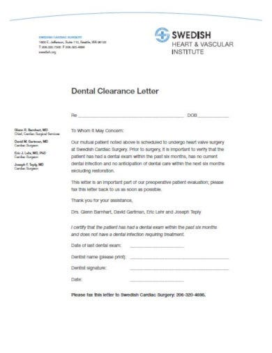 dental clearance letter template