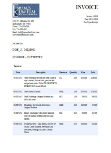 detailed attorney invoice template