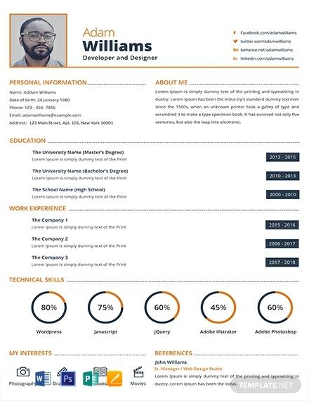 developer and designer infographic resume template