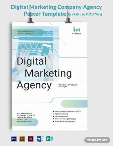 digital marketing company agency poster template