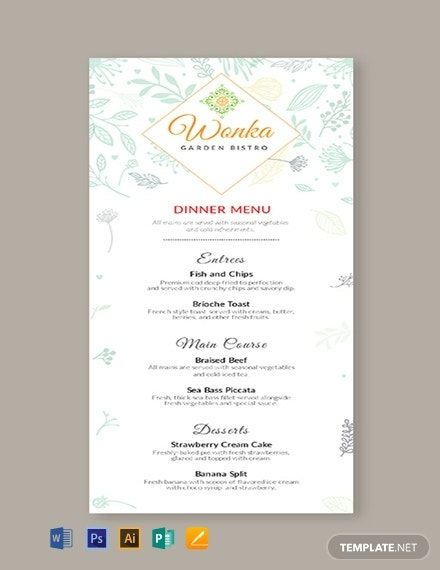 dinner event menu template