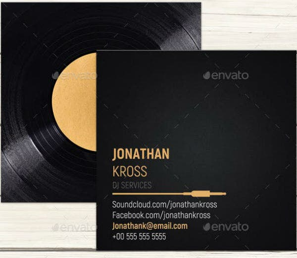 dj business card template preview