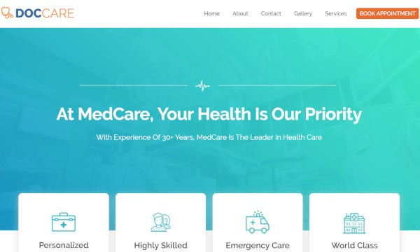 doccare fully responsive wordpress theme