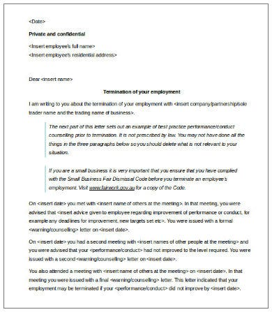 download employment contract termination letter template