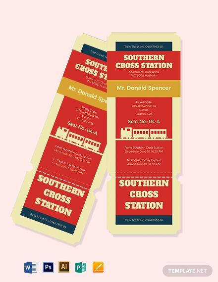 download retro train ticket template