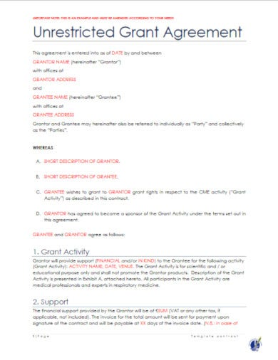 downloadable legal contract template for grant