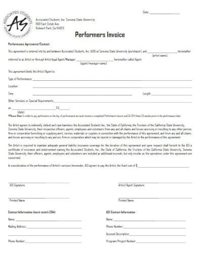 downloadable performance artist invoice
