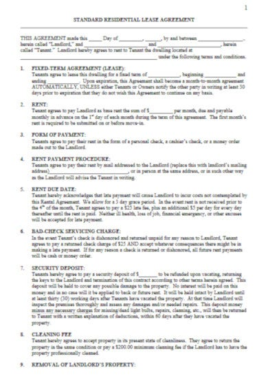 downloadable tenant lease agreement template