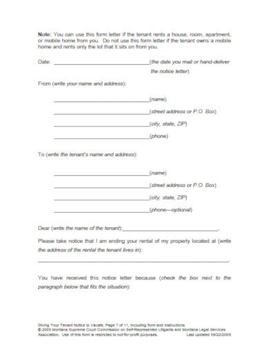 easy template for 30 day notice to tenant