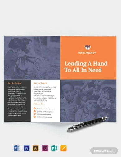 editable bi fold fundraising brochure template