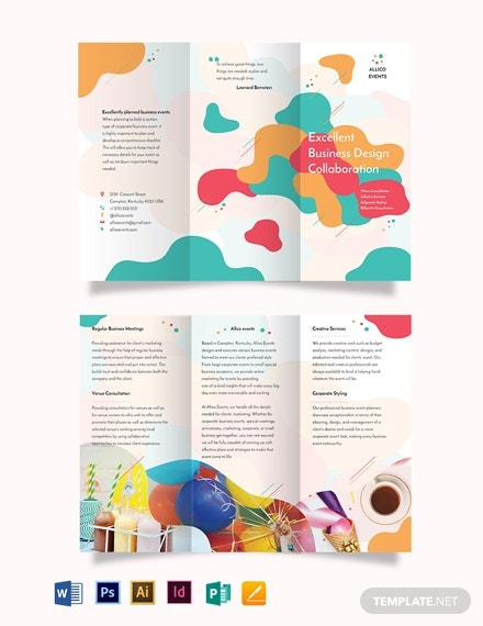 editable business event brochure layout