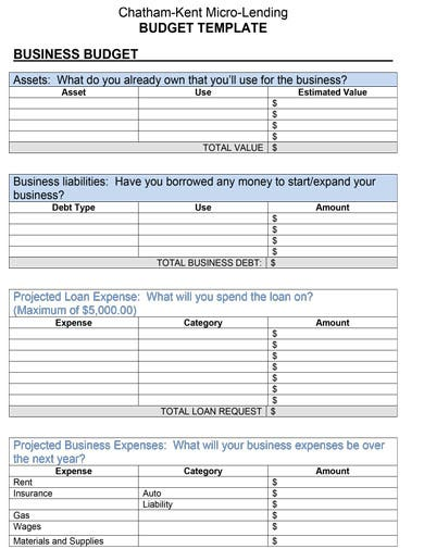 editable business expense budget template
