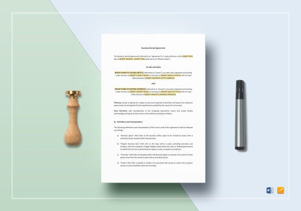 editable business tenant lease agreement template