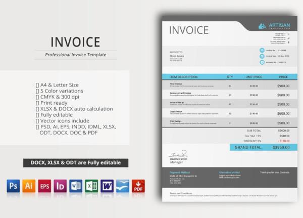 editable creative invoice template
