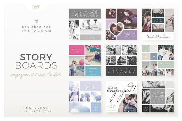 editable engagement photography storyboard template