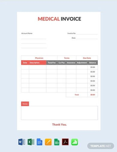 editable free medical invoice template1
