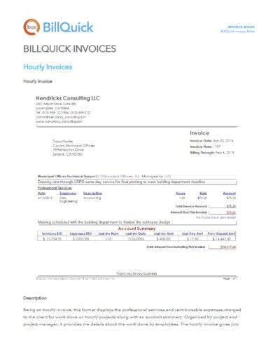 editable hourly invoice example