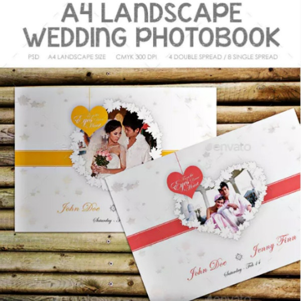 editable landscape wedding photobook template