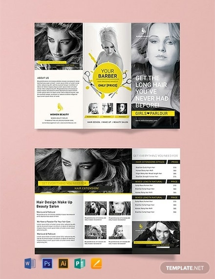 editable parlor barbershop brochure layout