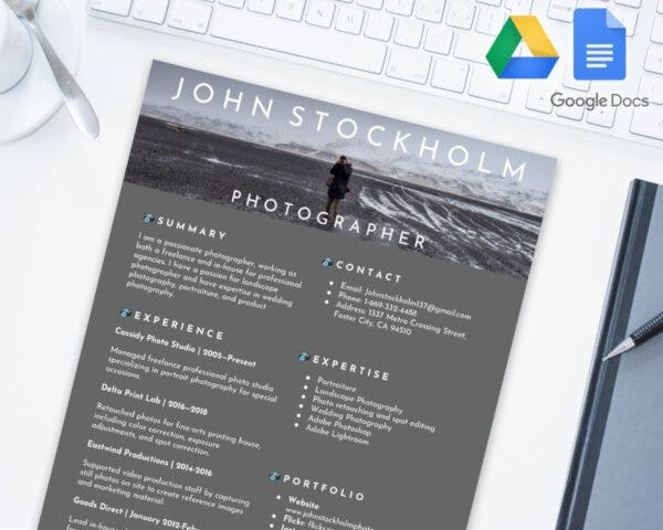 Photographer Editable Resume
