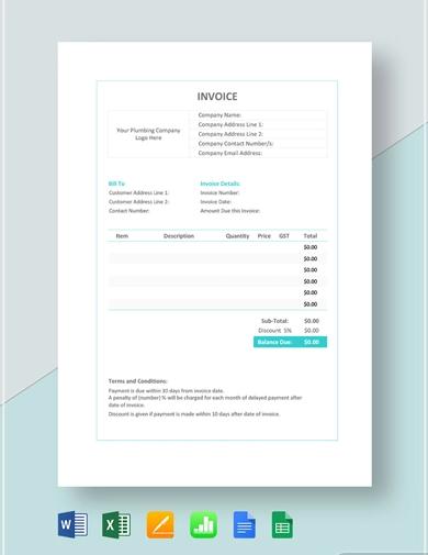 editable plumbing invoice template