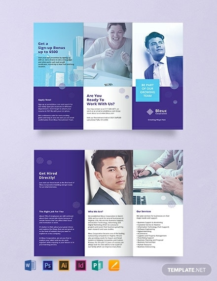 editable recruitment tri fold brochure layout