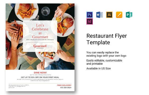 editable restaurant flyer template