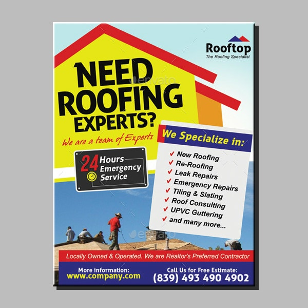 editable roofing services flyer format