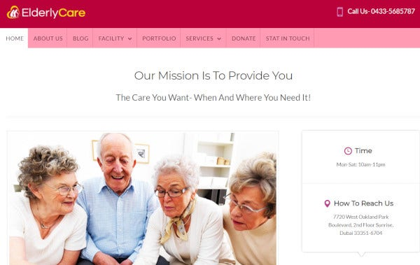 elderly care – css3 wordpress theme