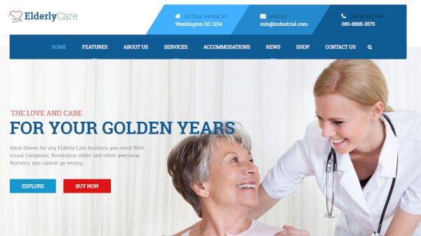 elderly care one click demo import wordpress theme