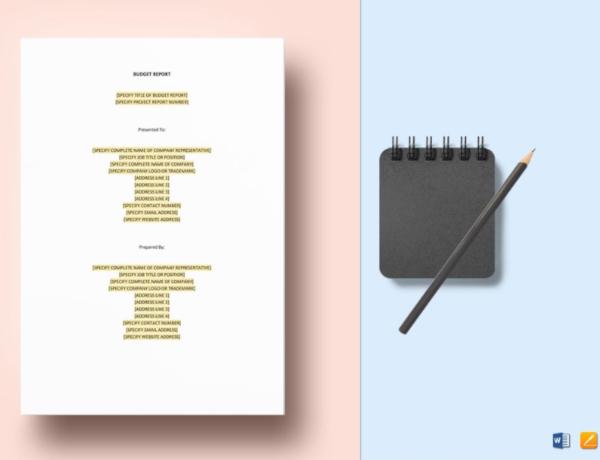 elegant budget report template