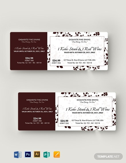 elegant food ticket