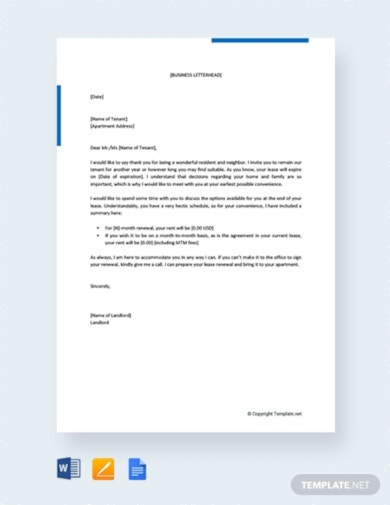 elegant free lease renewal letter to tenant template