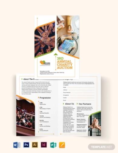 elegant fundraising event bi fold brochure template