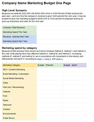 elegant marketing budget template