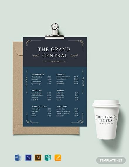 elegant menu board template