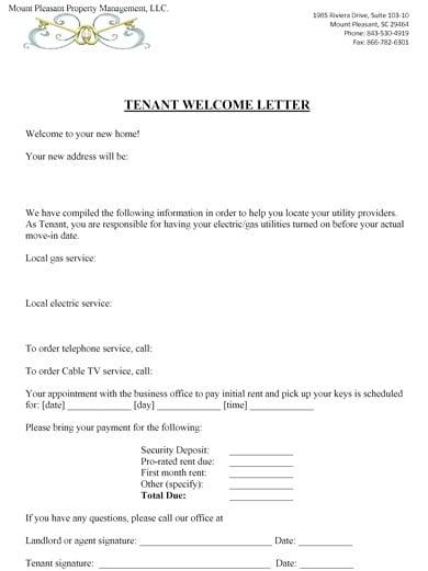 elegant tenant welcome letter