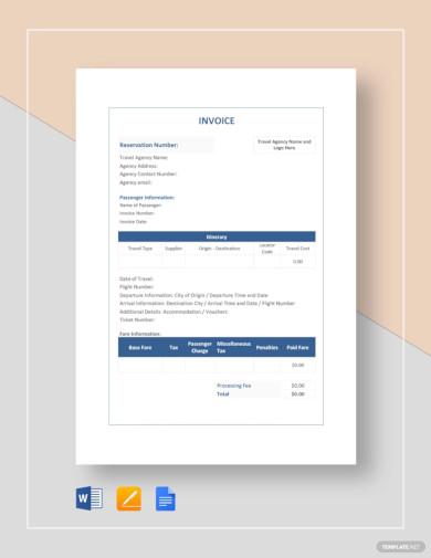elegant travel invoice template